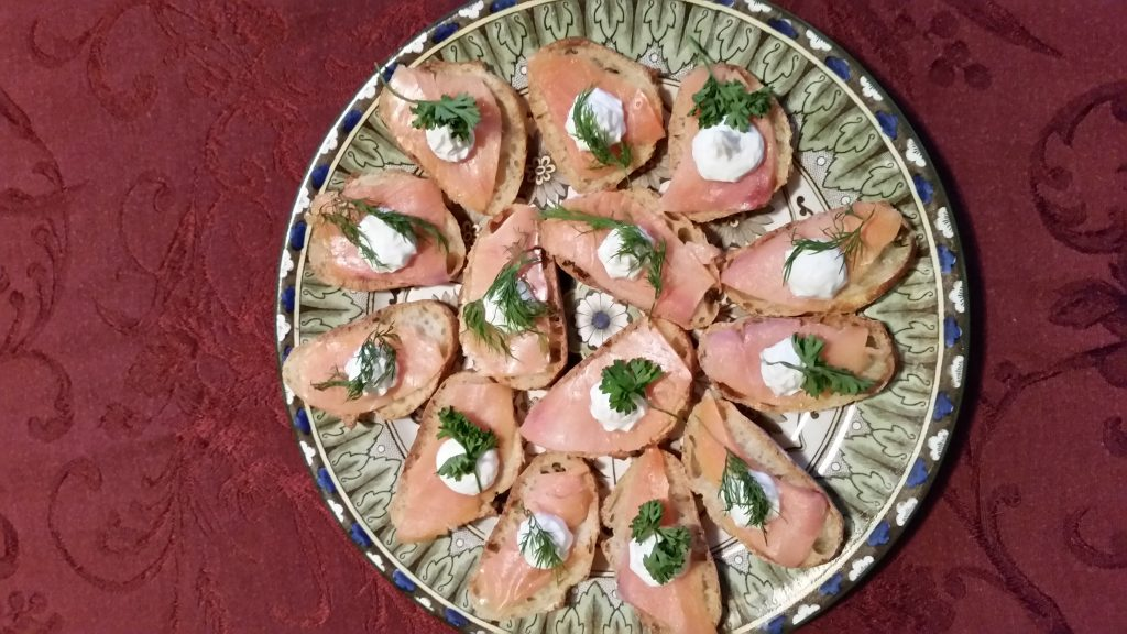 Recipe for Smoked Salmon Canapes (or Crostini